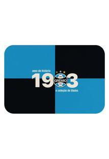 Tapete De Porta Oficial Do Grêmio Quadriculado 60X40 Preto E Azul