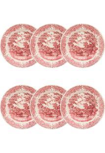 Conjunto 6 Pratos Fundos Oxford Vilarejo 22Cm Cerâmica Vermelho