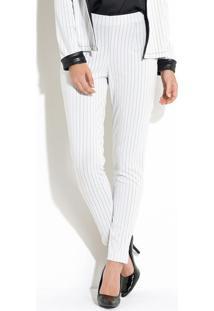 Calça Branca E Preto Com Fenda