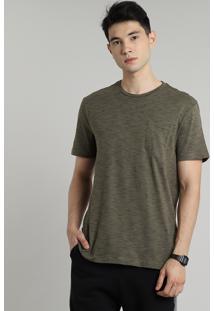 Camiseta Masculina Básica Mescla Com Bolso Manga Curta Gola Careca Verde Militar