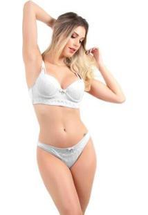 Conjunto Imi Lingerie Bojo Cropped Renda Scarlet Feminino - Feminino-Branco