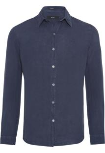 Camisa Masculina Linen Washed Classic French - Azul