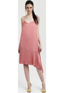 fe9db148cbb4 Vestido Feminino Mindset Acetinado Assimétrico Coral