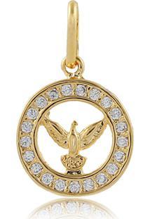 Pingente Narcizza Semijoias Espírito Santo Redondo Com Detalhes Em Micro Zircônia Cristal - Ouro