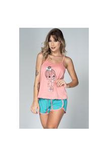 Baby Doll Bella Fiore Modas Pijama Gabriela Regata Coral