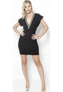 b5559a4fd -52% Vestido Com Recortes- Preto & Verde Claro- Colccicolcci