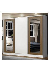 Guarda-Roupa Casal 100% Mdf Madesa Eros 3 Portas De Correr Com Espelhos Branco/Rustic/Branco Branco