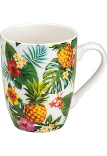 Caneca De Porcelana 330Ml Pineapple Party - Bon Gourmet - Branco