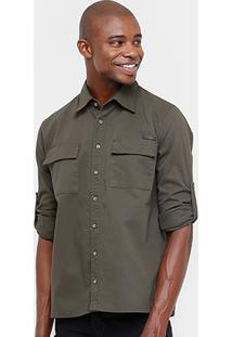Camisa Sarja Zune Bolso Masculina - Masculino