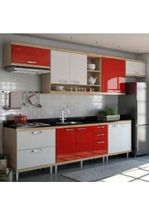 Cozinha Compacta 7 Peças 5800-S1 - Sicília - Multimóveis - Argila / Vermelho