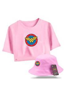 Kit Blusa Feminina Cropped Com Chapéu Bucket Personalizado Mulher Maravilha - Rosa