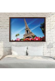 Quadro Love Decor Com Moldura Paris Fleurs Madeira Escura Médio