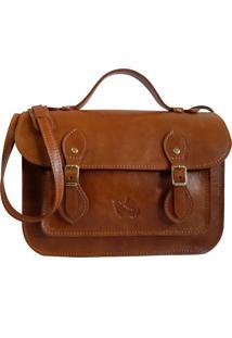 Bolsa Line Store Leather Satchel Pequena Couro Whisky Rústico Marrom. - Kanui