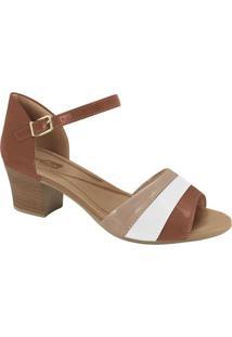Sandália Com Recortes- Marrom Claro & Nude- Salto: 5Comfortflex