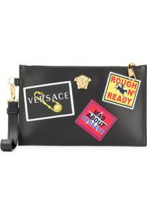 Versace Clutch Com Detalhe De Patch - Preto