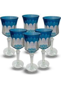 Conjunto De Taças Para Agua Em Vidro Cristalino Lapidado 6 Peçasazul Claro - Tricae