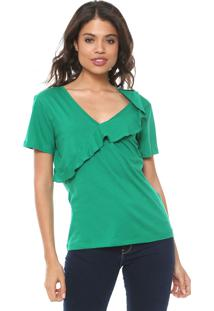 Camiseta Colcci Babados Verde
