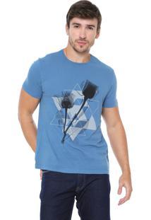 Camiseta Aramis Triângulos E Flores Azul