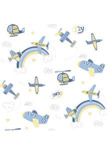 Papel De Parede Coleção Bambinos Azul Branco Aviões 3306 Bobinex