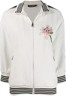 Dolce & Gabbana Jaqueta Bomber Com Logo Bordado - Branco