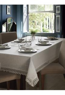 Toalha De Mesa Retângular 10P Jolitex Luxo Rendada Delhi Branco