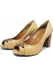 Sapato Peep Toe Fivela Salto Baixo 109 Hinfinity Feminino - Feminino-Bege