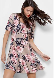 752404ab4a ... Vestido Lança Perfume Evasê Curto Floral - Feminino-Bege+Rosa