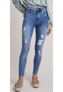 Calça Jeans Feminina Sawary Skinny Lipo Push Up Cintura Alta Destroyed Azul Médio