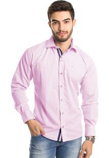 Camisa Tony Menswear Modelagem Ampla Manga Longa Rosa