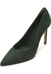 Scarpin Couro Capodarte Camurça Verde
