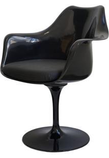 Cadeira Saarinen Preta Com Braco (Assento Preto) - 15051 - Sun House