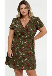 Vestido Feminino Transpassado Estampa Floral Plus Size Marisa