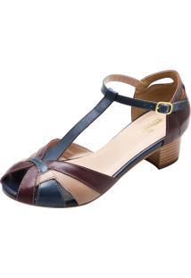 Sandália Salto Baixo Quadrado Miuzzi Azul E Vinho