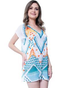 Blusa Estampada 101 Resort Wear Tunica Decote V Fendas Geométrica Branca