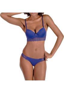 Conjunto Rios Bojo Babado Em Renda Feminino - Feminino-Azul