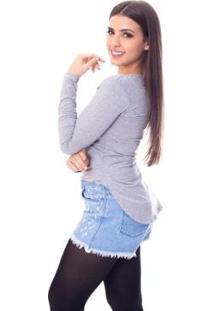 Blusa Moda Vicio Mullet Manga Longa Feminina - Feminino-Mescla
