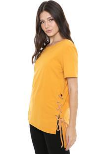 Camiseta My Favorite Thing(S) Alongada Lace Up Amarela