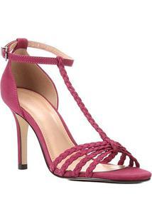 Sandália Couro Shoestock Tiras Trançadas Salto Alto Feminina - Feminino-Rosa