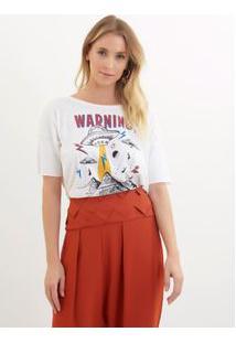 Camiseta Rosa Chá Pietra I Malha Branco Feminina Camiseta Pietra I-Branco-G