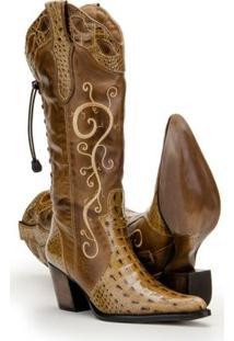 Bota Texana Couro Country Capelli Boots Jacaré Feminina - Feminino-Marrom