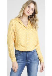c786b67f27 CEA. Camisa Amarela Feminina Clock Esporte Viscose Solto Estampada Com Manga  Longa Poa ...