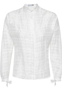 Camisa Feminina Seda Manga Longa - Branco