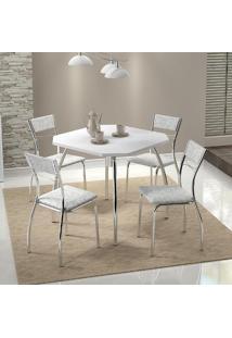 Mesa 1504 Branca Cromada Com 4 Cadeiras 1701 Fantasia Branco Carraro