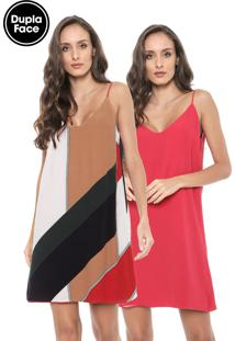 Vestido Forum Curto Dupla Face Branco/Vermelho