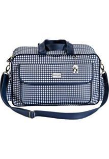 Bolsa Vichy- Branca & Azul Marinho- 48X33X7Cm- Bbatistela