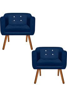 Kit 02 Poltronas Decorativa Julia Suede Azul Marinho Com Strass - D'Rossi