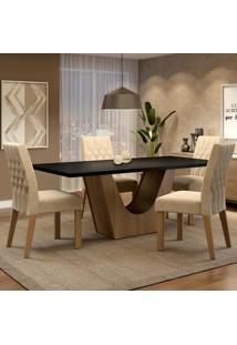 Conjunto Sala De Jantar Madesa Raissa Mesa Tampo De Madeira Com 4 Cadeiras Marrom - Tricae