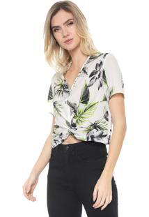 Blusa Cropped Enfim Estampada Off-White/Verde