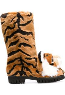 Dolce & Gabbana Bota 'Tiger' Com Aplicação - Neutro