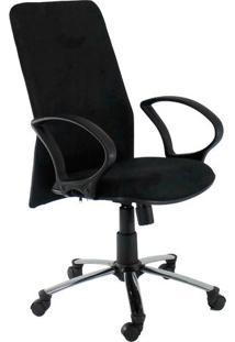 Cadeira De Escritório Presidente Tela Suede Cromada|Preta